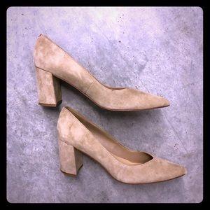 Nude/neutral block heel pumps